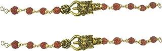 Utkarsh (Set Of 2 Pcs) Unisex Adjustable Brown Beads Rudraksha Mala Chain Animal King Roaring Lion Head Om Mahadev Bolenat...