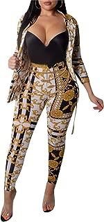 Womens 2 Piece Outfits Long Sleeve Bodycon Jumpsuits Skinny Long Pants Set Floral Print Bodysuit Plus Size