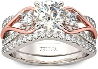 Jeulia Two Tone Rings for Women Rose Gold Three Stone Round Cut Engagement Rings Sterling Silver Halo Bridal Ring Set Anniversary Promise Wedding Ring with Jewelry Gift Box