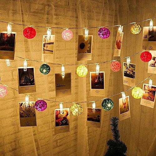 ELINKUME LED Guirlandes Lumineuses Belle Éclairage décoratif intérieur (F-40LEDs Clips Photo+ RGB Boules de Rotin)