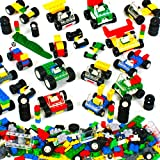 Brickyard Building Blocks Wheels, Tires, and Axles - 459 Pieces Building Bricks Compatible Set Includes Steering Wheels, Windshields, and Colorful Brick Building Chassis Pieces (459 pcs)