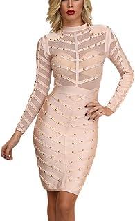 2def5ef8112c HLBandage Long Sleeve Mesh Beaded Knee Length Rayon Bandage Dress