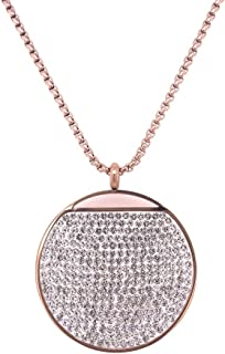 Bevilles Rose Stainless Steel Pave Crystal Disc Necklace Pendant