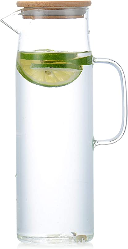 Glass Water Pitcher With Bamboo Lids Water Container1500ml