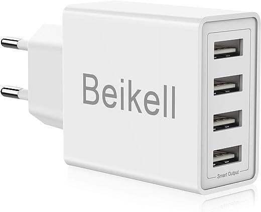 USB Ladegerät, Beikell 4-Ports High-Speed Ladeadapter USB Netzteile mit Smart Device-Adaptive Technologie 5A/25W für iPhone, iPad,Galaxy, Bluetooth…