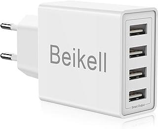 Beikell Cargador USB de Pared con 4 Puertos, 5A/25W Rápido Cargador Móvil, Cargador USB Multipuerto Enchufe Europeo para iPhone X/XS/XS Max/XR, iPad Pro/ Air, Android y más