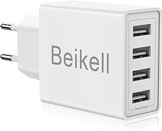 Beikell Cargador USB de Pared con 4 Puertos, 5A/25W Rápido Cargador Móvil, Cargador USB Multipuerto Enchufe Europeo para iPhone X/XS/XS MAX/XR, iPad Pro/Air, Android y más