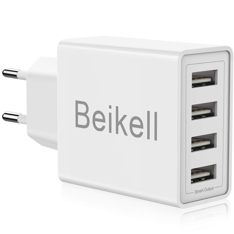 Beikell Cargador USB de Pared con 4 Puertos, 5A/25W Rápido Cargador Móvil, Cargador USB Multipuerto Enchufe Europeo para iPhone X/XS/XS Max/XR, iPad Pro/ Air, Android y más: Amazon.es: Electrónica