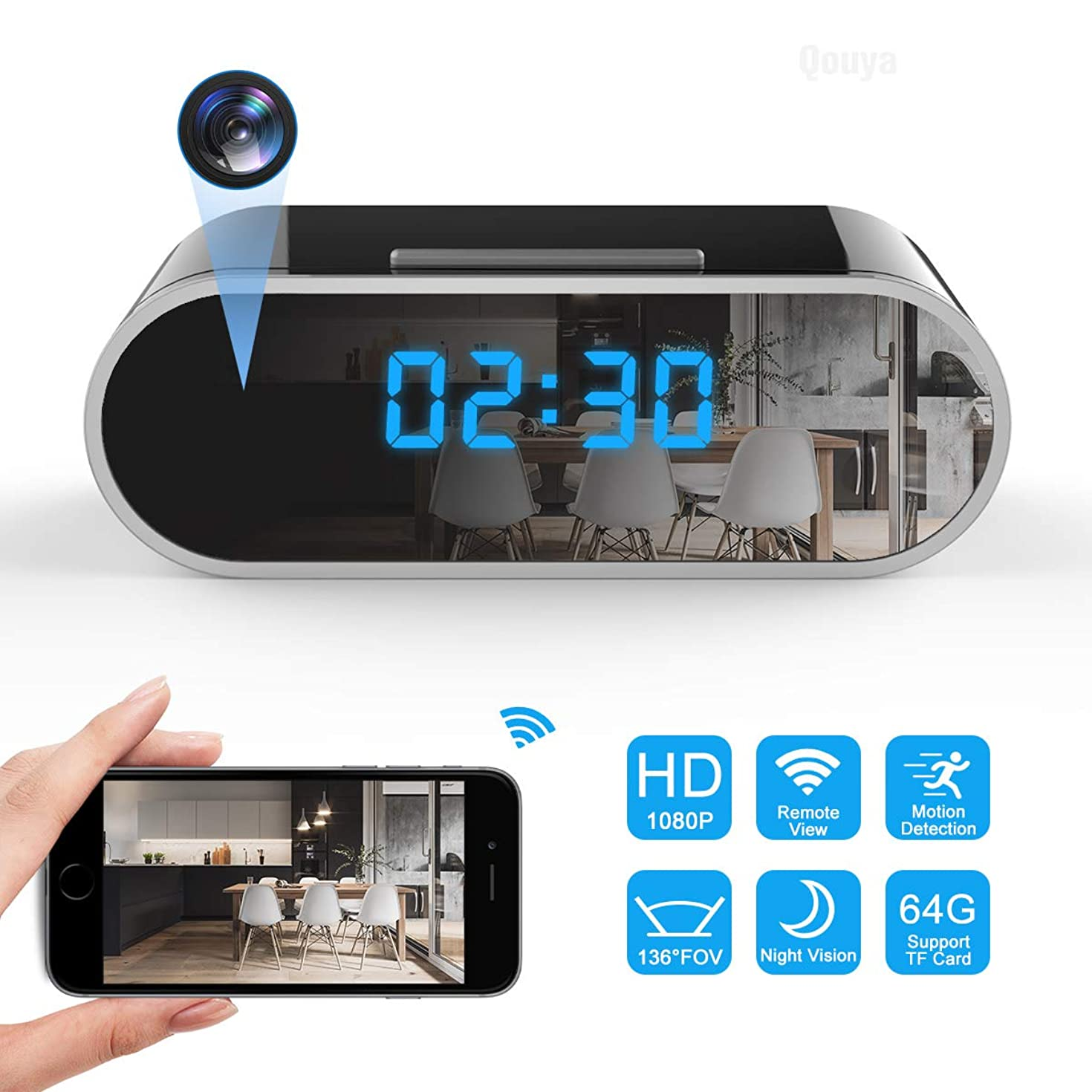 Spy Camera Wireless Hidden Camera WiFi Camera 1080P HD Hidden Clock Camera Small Nanny Cam Indoor Home Security Camera 136 Degrees Wide Angle Spy Cam with Night Vision/Motion Detection/Remote Viewing