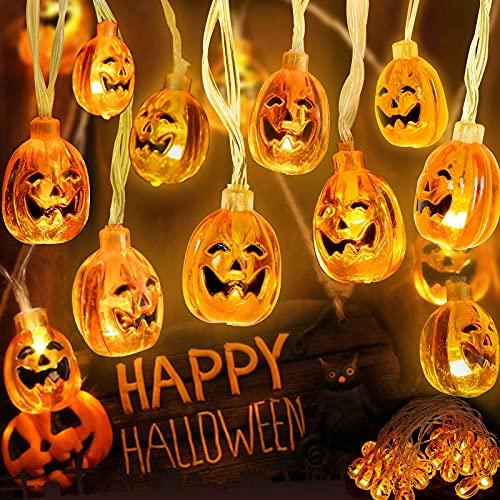 WOWDSGN Luci Halloween Zucca, 3,5M Catene Luminose 30 LED, Stringa Luci LED Impermeabile Lanterne 3D con 8 Modalità di Illuminazione, Decorazione per Halloween Party Giardino