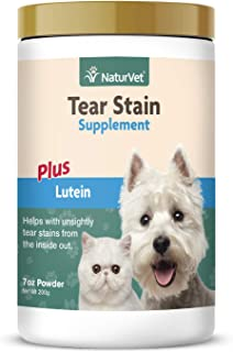 NaturVet – Tear Stain Plus Lutein – Eliminates Unsightly Tear Stains – Enhanced with Cranberry Extract, Marshmallow Root & Oregon Grape Root – for Dogs & Cats