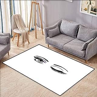 Large Area Rug,Eyelash,Cartoon Style Dramatic Woman Eyes with Long Lashes Winking Flirting Gesture,Extra Large Rug,3'3