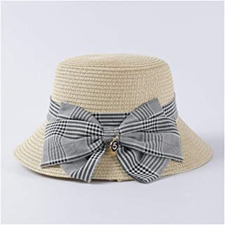 SHENTIANWEI Hat Female Retro Plaid Bow Straw hat Travel Vacation Loose Sunscreen hat (Color : Beige)