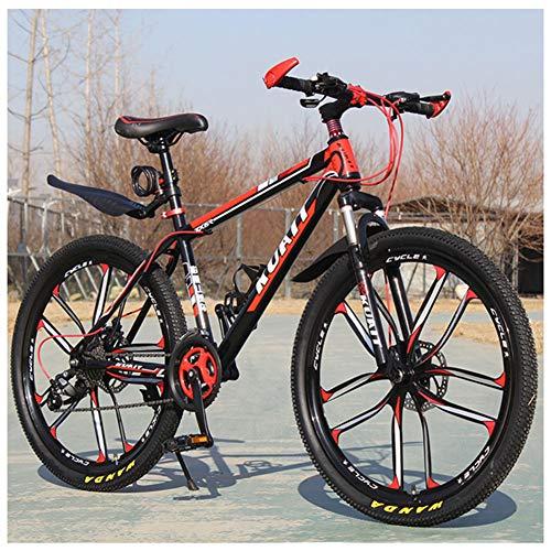 QIMENG 24' Wheel Mountain Bike,Bici Biammortizzata Men's,Front Suspension Biciclette,21/24/27/30 velocità,Acciaio Telaio Hardtail Mountain Bike,Adatto per Altezza135-180Cm,10 Cutter Red,27 Speed