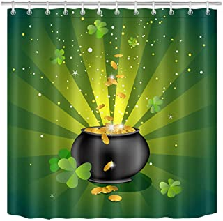LB St.Patricks Day Shower Curtain Set Green Lucky Clover Leaves Pot of Gold Coins Shamrock Bathroom Curtain with Hooks,72x72 inch Waterproof Polyester Fabric Bathroom Decorations