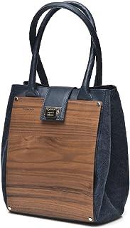 EMBAWO borsa donna a spalla CARLOTTA in vera pelle italiana colore blu e vero legno noce con fianchi in tessuto canvas - Q...
