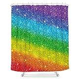 LIGHTINHOME Regenbogen abstrakter Duschvorhang Regenbogen Streifen allmählicher Wechsel 152,4 x 183,9 cm bunter Stoff wasserdicht Badezimmer Home Decor Set 12 Kunststoffhaken (kein Glitzer)