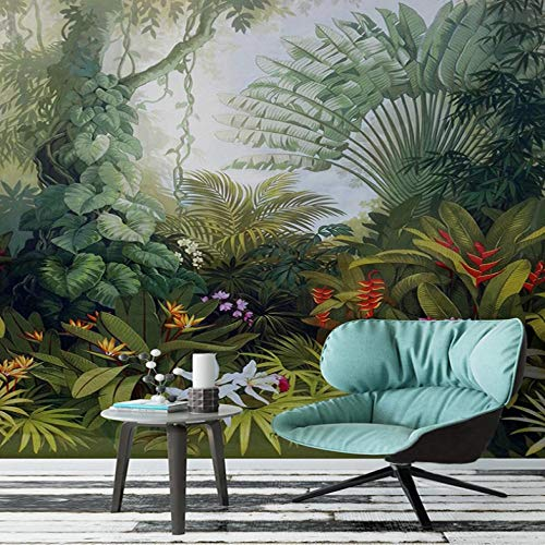 Mural Retro Tropical Plant Scenery 350X250cm Non-Woven Art Print 3D Wallpaper Mural Photo Kids Bedroom Kitchen Poster Decoration – Mural Consists of 7 Pieces