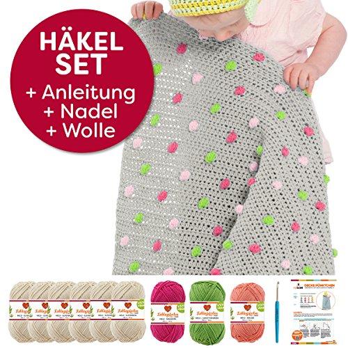 myboshi Häkel-Set Babydecke Pünktchen | aus No.2 | Anleitung + Wolle | mit Häkelnadel | Baby-Decken-Häkel-Set | Elfenbein Rouge Limettengrün Magenta
