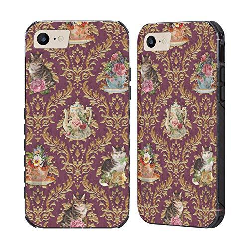 Head Case Designs Ufficiale Brigid Ashwood Ora del tè Gatti Damasco Gatti Cover Nera Evolution Compatibile con Apple iPhone 7 / iPhone 8 / iPhone SE 2020