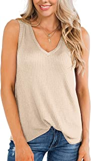 IWOLLENCE Womens Waffle Knit V Neck Tank Tops Summer Casual Sleeveless Shirts Loose Blouses