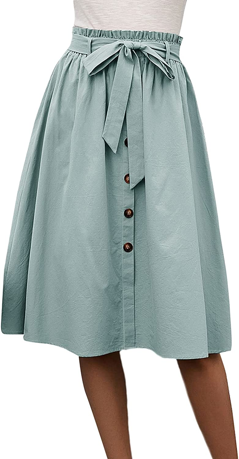 Milumia Women Casual Paperbag High Waisted Button Front Skirt Flared Belted Midi Skirt