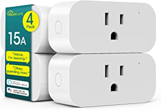 Smart Plug 4 Pack, Treatlife 15 Amp WiFi Smart Outlet with Child Lock and Vacation Mode, Reliable WiFi Connection, Compatible with Alexa and Google Assistant, No Hub Required, Remote Control