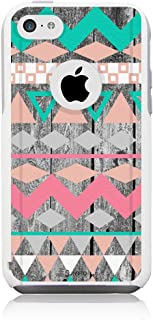 Unnito iPhone 5 Case – Hybrid Commuter Case | Slim Cover with Hard Shell Design and Soft Inner Layer Compatible with iPhone 5S / SE White Case – Aztec Wood Chevron