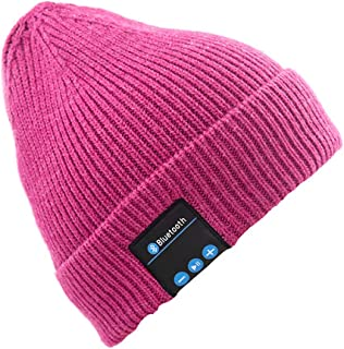 GLJJQMY Europe and The United States Creative Smart Knit Hat Multi-Function Bluetooth Earphone (Color : Pink)