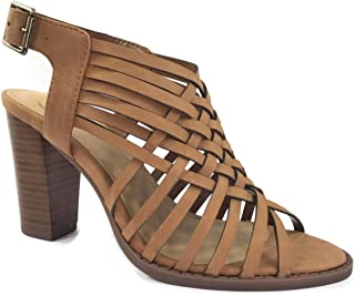 Open Toe Perforated Lace up Elastic Side Stacked Chunky Heel Sandal