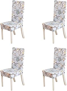 FORCHEER Dining Chair Cover for Dining Room Set 4 Pack Printed Seat Slipcovers for Office Computer Chairs Protector Wedding Banquets Party
