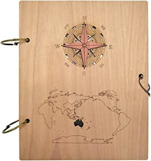 Giftgarden Columbus's Voyage Nautical Photo Album 4x6 Wood Picture Albums Book with 120 Pockets
