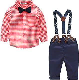 Xifamniy Newborn Boys 2pcs Long Sleeve Sets Plaid Bow Tie Shirt Match Detachable Overalls