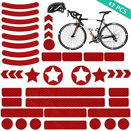 YIKEF Reflektoren Aufkleber Sticker (42 Stück) Reflexfolie Set zur Sicherungs-Markierung von Kinderwagen, Fahrrädern, Helmen mit Stickern - selbstklebend und hochreflektierend (Rot)
