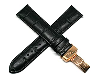 Lucien Piccard 22MM Alligator Grain Genuine Leather Watch Strap Band 8 Inches Black with Rose Gold Clasp
