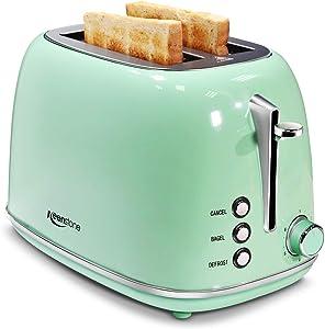 Keenstone 2 Slice Toaster Retro Stainless Steel Toaster, Green