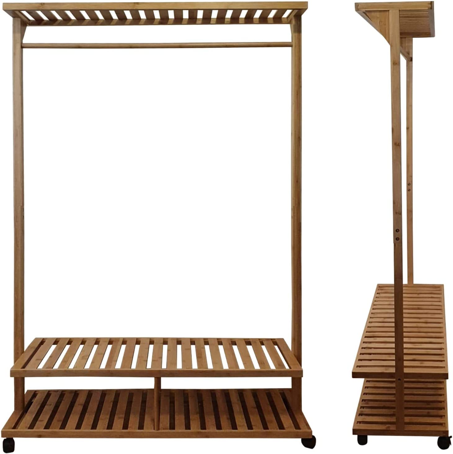 D'ORA BAMBOO Clothes Rack With Wood Shelves Ha - Raleigh Mall Clothing Chicago Mall