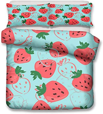 YZBEDSET 3D Red Strawberry Printed Comforter Bedding Modern Simple Twin Queen Size Polyester Bed Duvet Cover for Bedroom,Us Full 203X228Cm