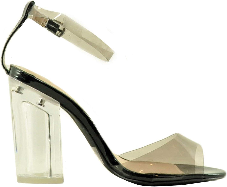 Qupid Kloude 09 Women's Ankle Strap Peep Toe Perspex Block Heel