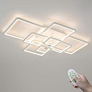 Moderno Blanco 120W Regulable LED Sala Lámpara de Techo con Mando a Distancia 8 Rectángulo Cuadro Diseño Dormitorio Comedor Luz de Techo Metal Acrílico Iluminación Interior 3000K-6500K