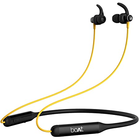 boAt Rockerz 335 Wireless Neckband with ASAP Charge, Up to 30H Playback, Qualcomm aptX & CVC, Enhanced Bass, Metal Control Board, IPX5, Type C Port, Bluetooth v5.0, Voice Assistant(Blazing Yellow)
