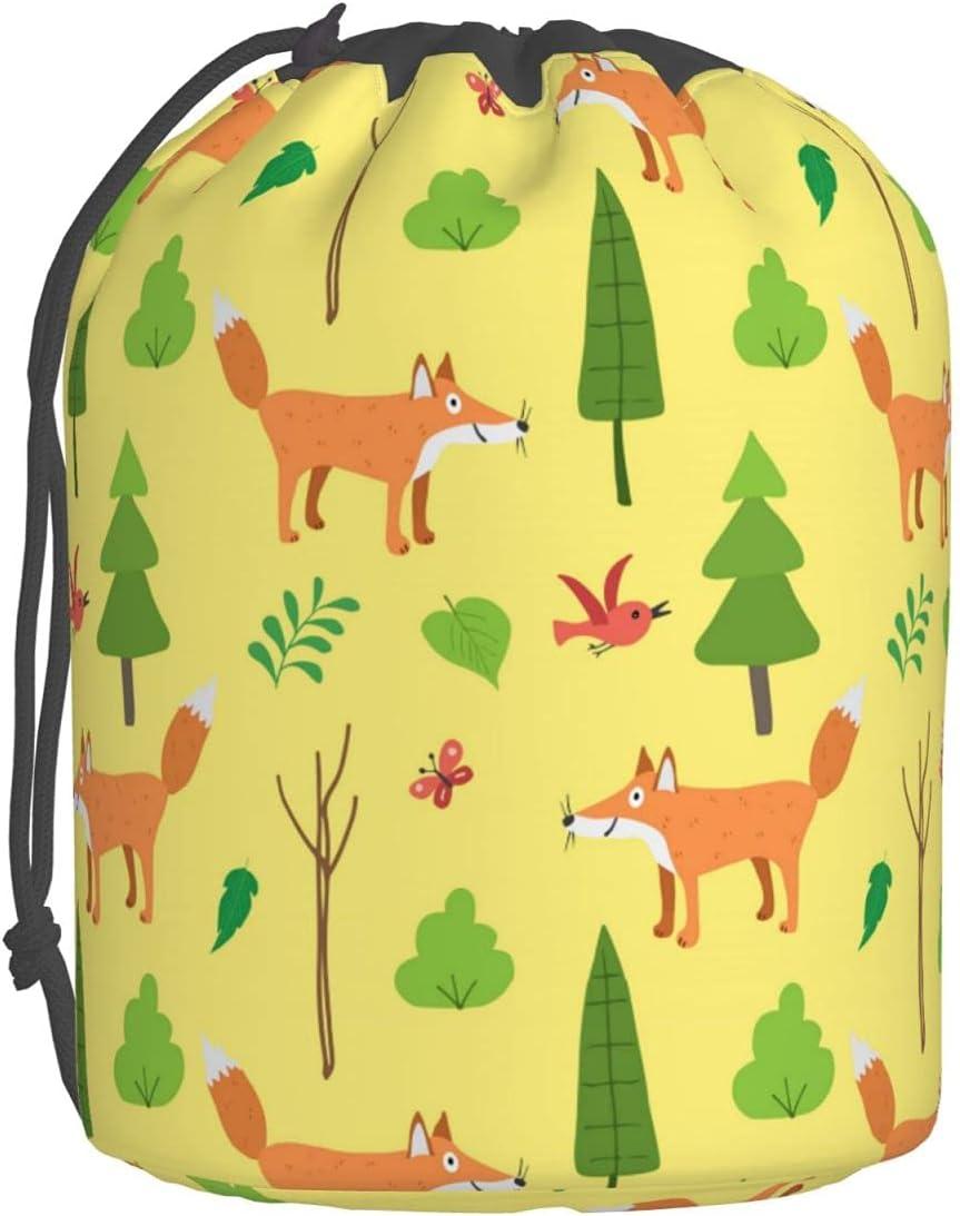 Cute Fox Houston Mall Yellow Travel Cosmetic Bags Bucket Toiletry Bag Drawstr Popular overseas