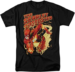 Trevco JLA Scarlet Speedster T-Shirt Black Adult Unisex 100% Cotton Short Sleeve