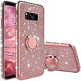 Funda para Samsung Galaxy S8, Glitter Brillante Diamante Carcasa Soporte Magnético de 360 Grados Anillo Giratorio Suave Silicona Gel TPU Anti-Choques y Anti- Arañazos Protectora Carcasa - Oro Rosa