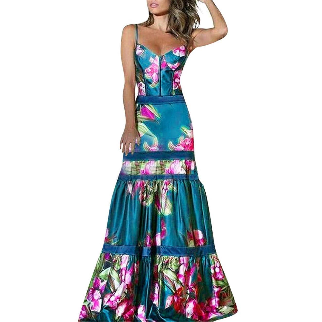 MIS1950s Women Summer Print Dress Women Elegant V-Neck Sleeveless Maxi Dresses Club Dress