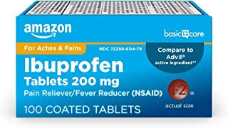 Amazon Basic Care Ibuprofen Tablets 200 mg, Pain Reliever/Fever Reducer, 100 Count