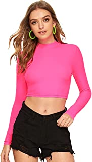 Verdusa Women's Casual Slim Fitted Basic Long Sleeve Solid Crop Tee Top