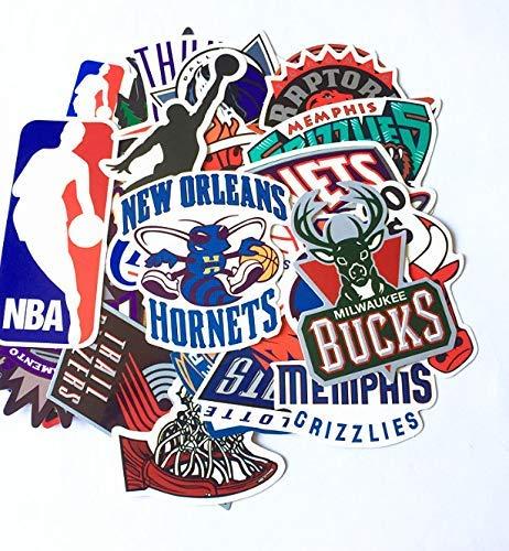 Pegatinas de pared 32 piezas de embalaje Nba de dibujos animados, símbolo de baloncesto, equipo de baloncesto estadounidense Graffiti Tie Box Stickers