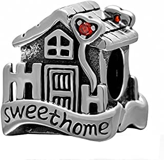 SoulBeads Solid 925 Sterling Silver Sweet Home Charm House with Red Stone Bead for Charm Bracelet