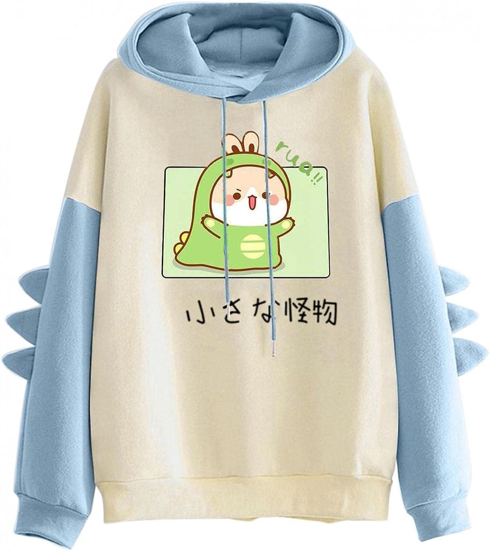 Haheyrte Cute Hoodies for Women Dinosaur Print Hooded Sweatshirts Casual Loose Long Sleeve Pullover Tops Sweaters Shirts
